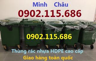Thùng rác nhựa 660L 4 bánh xe,xe gom rác nhựa 660L,xe chở rác 660L nhựa,
