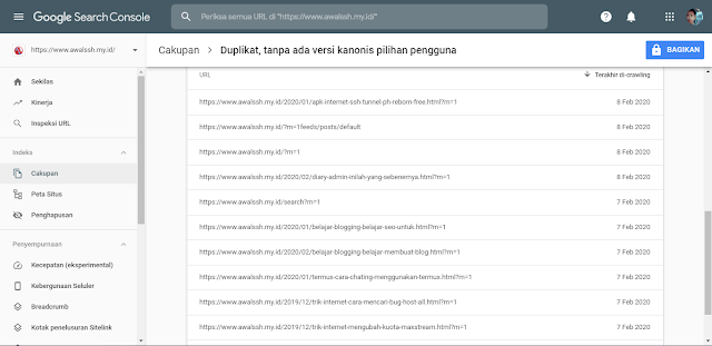 GOOGLE CONSOLE | Mengatasi Duplikat Tanpa Ada Versi Kanonis Pilihan Pengguna