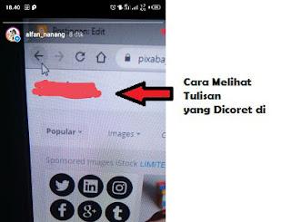 cara melihat tulisan yang dicoret di instagram