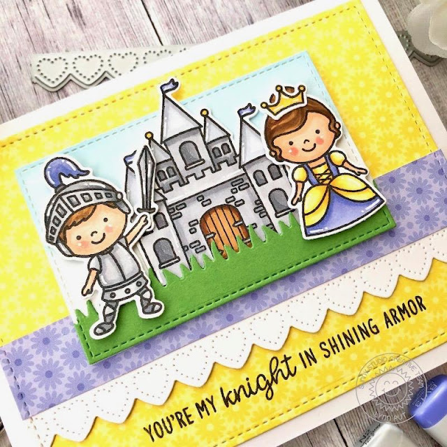 Sunny Studio Stamps: Heartstrings Border Dies Enchanted Frilly Frame Dies Everyday Card by Lynn Put
