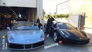 Kylie and Kendall Jenner matching Ferraris
