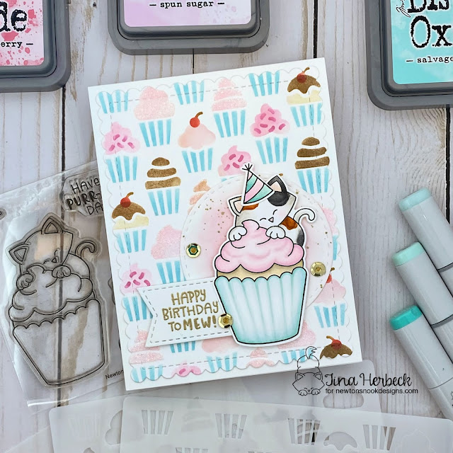 Birthday Cat and Cupcake Card by Tina Herbeck | Newton's Cupcake Stamp Set, Cupcakes Stencil Set, Circle Frames Die Set and Frames & Flags Die Set by Newton's Nook Designs #newtonsnook #handmade