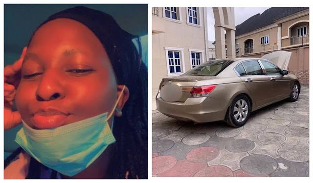 Nigerian lady shows off the car gift from she received from her Boyfriend due to Covid-19