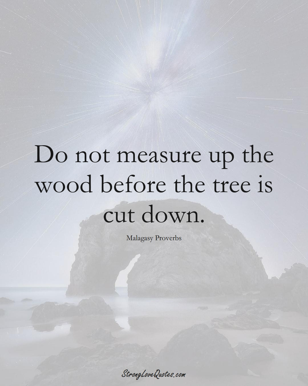 Do not measure up the wood before the tree is cut down. (Malagasy Sayings);  #AfricanSayings