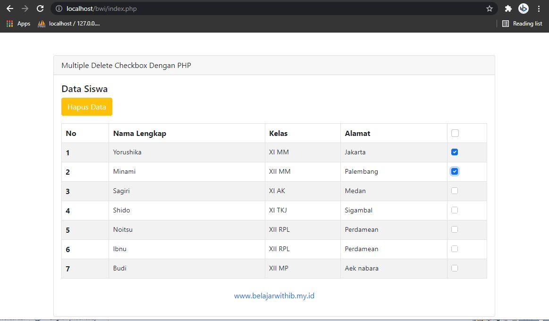 Multiple Delete Checkbox Dengan PHP