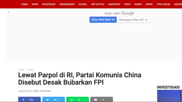 4 Fakta Ardian Posting Berita Hoax Komunis China Desak FP1 Bubar