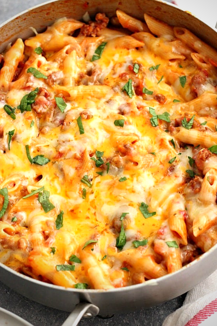 One Pot Cheesy Sausage Penne