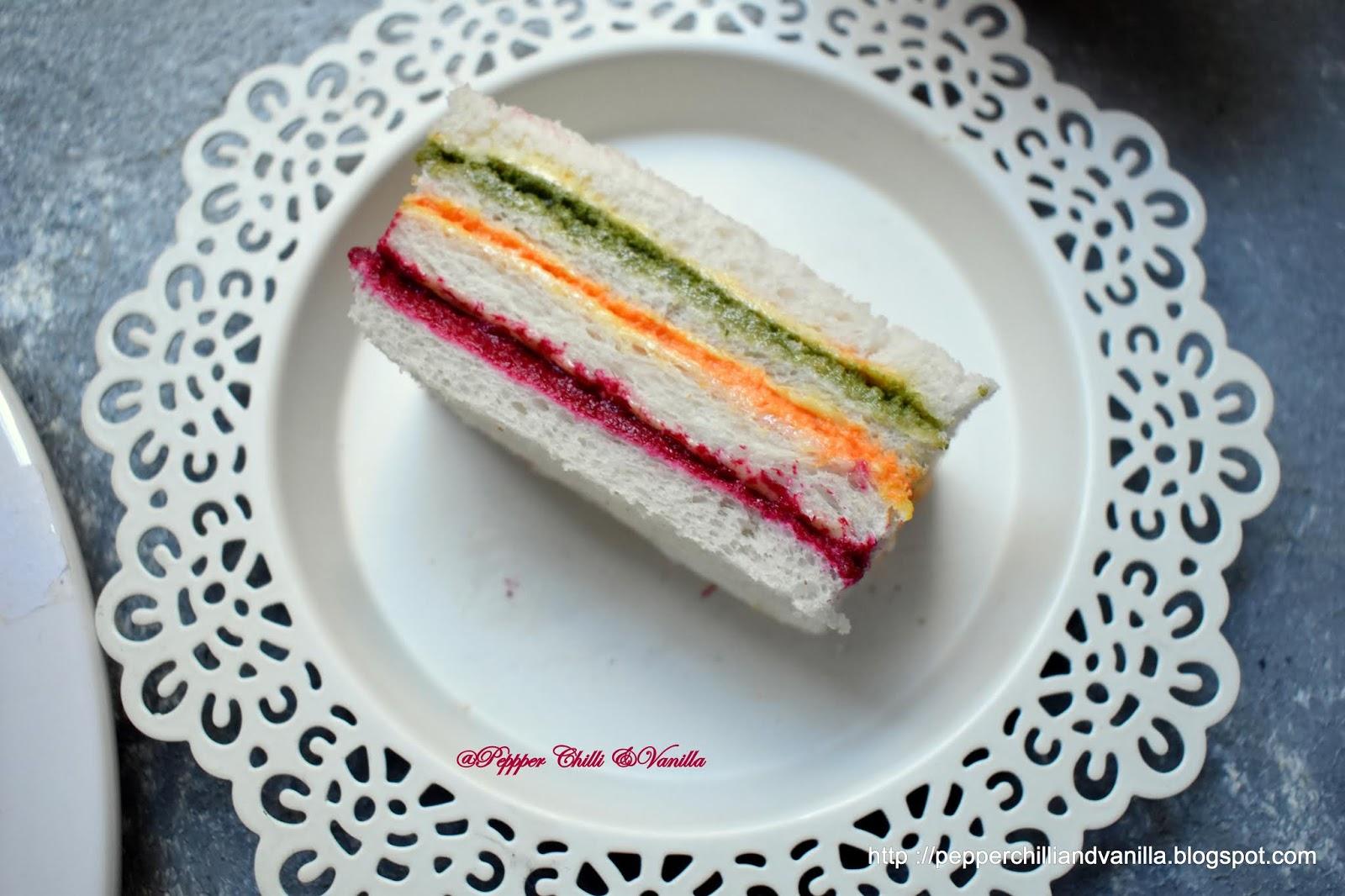 veg rainbow sandwich,tricolor sandwich,tricolour sandwiches,party sandwiches