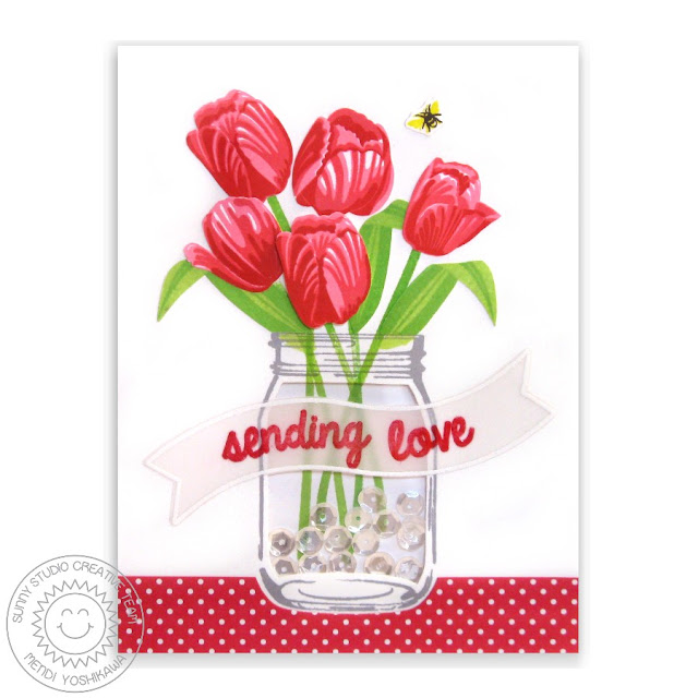 Sunny Studio Stamps: Timeless Tulips & Vintage Jar Red Love Themed Shaker Card by Mendi Yoshikawa