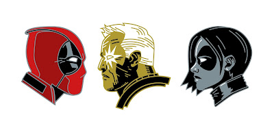 Deadpool 2 Marvel Portrait Enamel Pins by Matt Taylor x Mondo x Alamo Drafthouse - Deadpool, Cable & Domino
