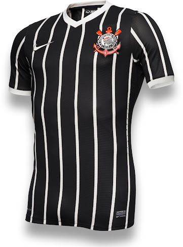 The new Corinthians 2013 Away Kit features the main color black with a  V-neck collar and white pinstripes as well as sleeve cuffs in the same  color. 7a93ec39c