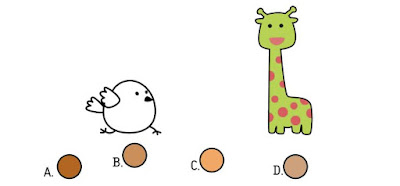 Alt 2 Q 11. Color bird wonders what the giraffe's two colors mixed together would look like. Which berry shows that combination?