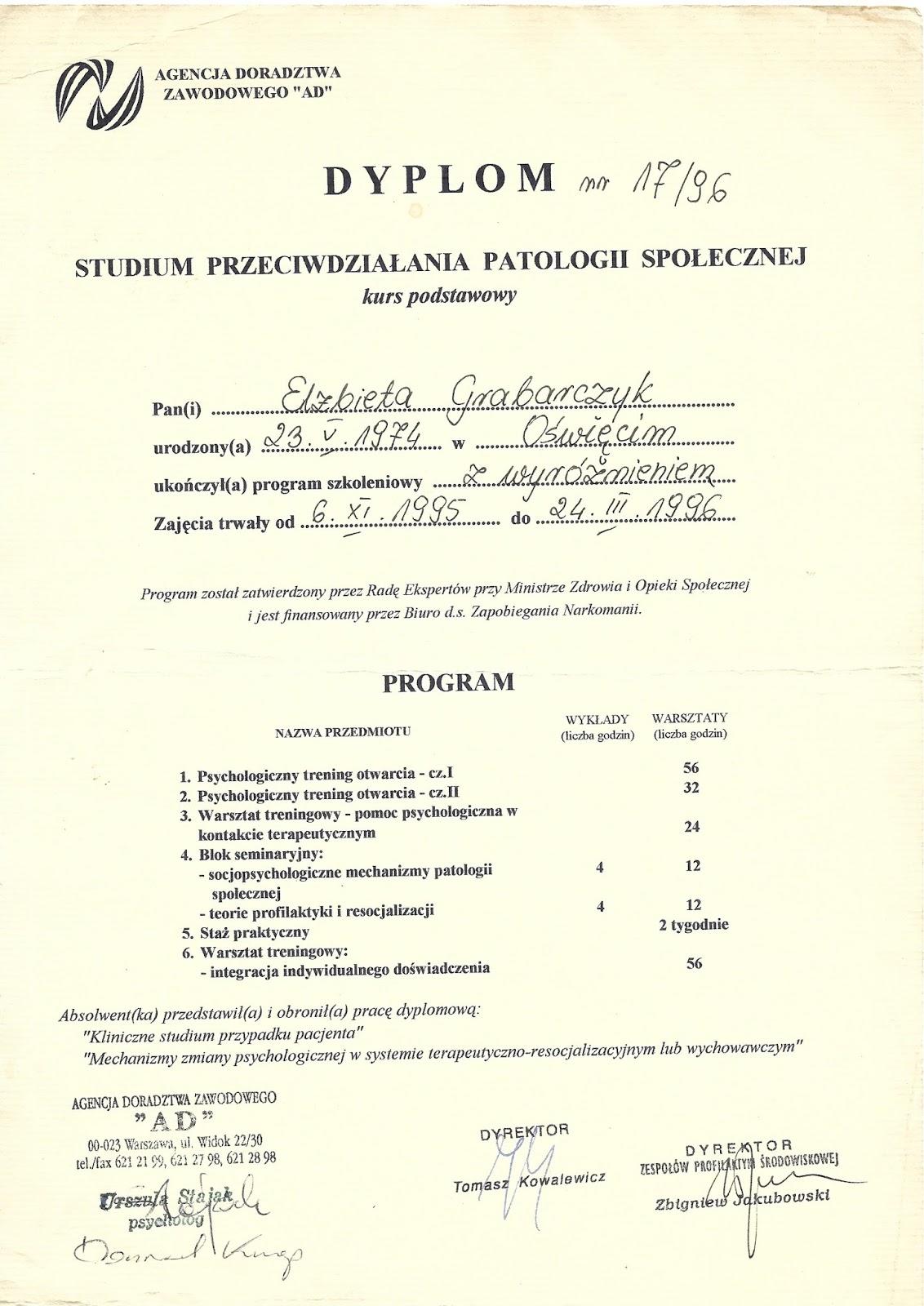 Studium Przeciwdziałania Patologii Społecznej - Elżbieta Grabarczyk
