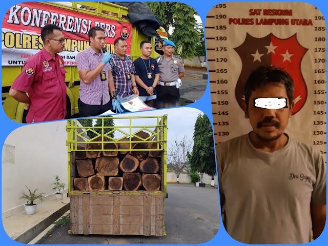 Sat Reskrim Polres Lampung Utara Amankan  Pelaku Ilegal Loging