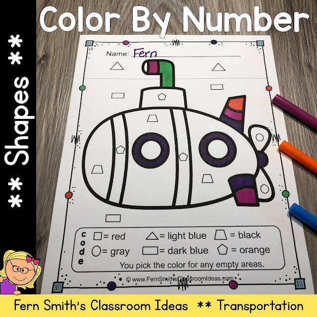 Click Here for This Color By Code Know Your Shapes Transportation With a Bonus Free Coloring Page!