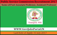 Public Service Commission Recruitment 2017– 19 Associate Professor, Assistant Professor