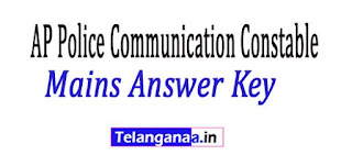 AP Police Communication Constable Mains Answer Key 2018