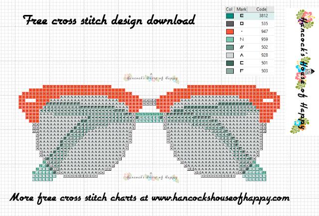 Free Hip Eyeglasses Cross Stitch Pattern