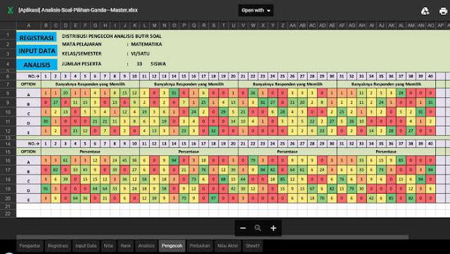 Aplikasi Ananlisis Soal Pilihan Ganda Format Excel [xls.xlsm]