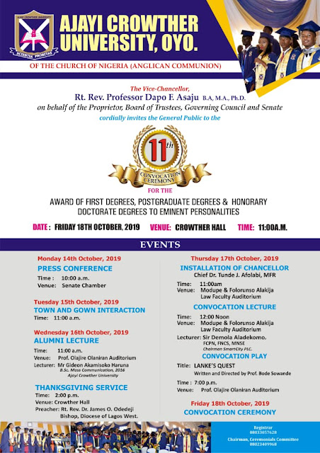 ACU 11th Convocation Ceremonies Programme of Events 2019