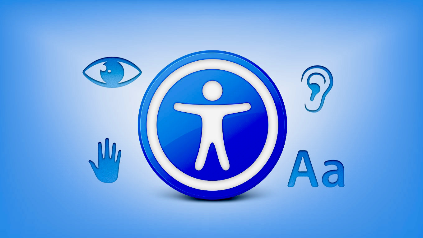 """Blue outer to white inner background with centre icon """"Accessibility"""" highlighting Vision, Hearing and other accessibility requirements"""