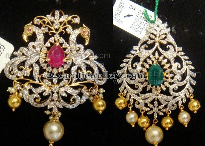 Diamond Lockets In Leafy Peacock Design Jewellery Designs