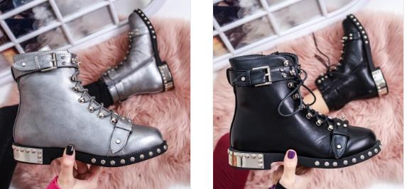 Ghete fashion dama gri, negre cu insertii metalice moderne