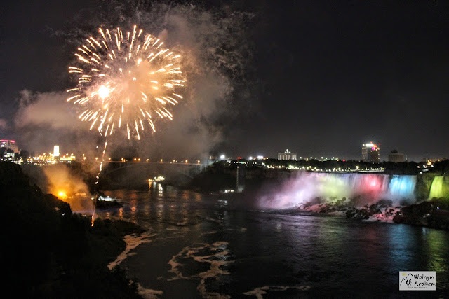 Niagara Falls fireworks at night