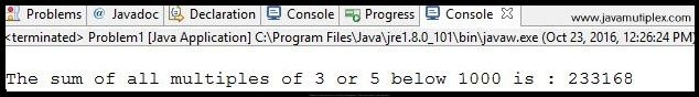 Output of Project Euler problem 1 - Multiple of 3 or 5 below 1000 in Java
