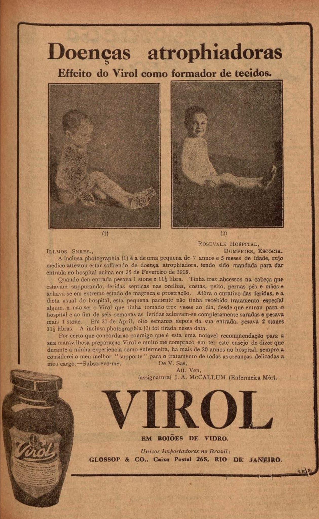 Propaganda antiga do xarope Virol veiculada em 1923