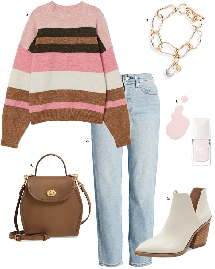white ankle booties, striped sweater, mom straight jeans, spring jean trends