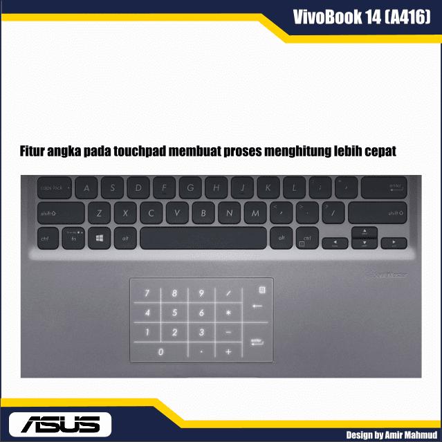 Fitur angka pada touchpad VivoBook A416