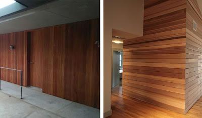 Contoh terpasang dinding kayu