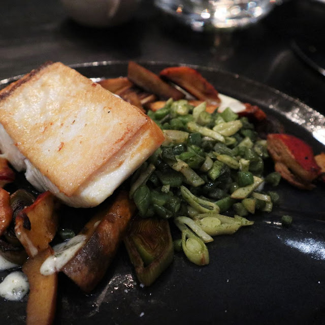Haida Gwaii Halibut ($38). I had the squash ragout substituted for a legume pilaf. My dish still featured the parsley onion pesto, braised leek and lobster mushrooms