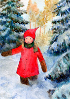 Postcard illustraion of a gnome girl walking. It's winter and there is much snow.