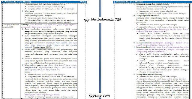 Download Rpp Bahasa Indonesia Smp Kelas 7 8 9 Kurikulum 2013 Revisi 2017 dan Revisi 2020 1 Lembar Semester 1 2 Ganjil dan Genap Lengkap Silabus Promes Prota Dll