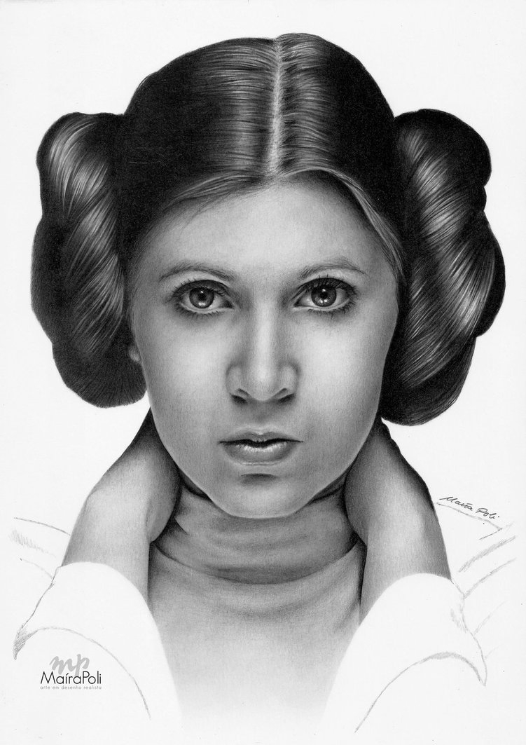 06-Princess-Leia-Star-Wars-Carrie-Fisher-Maíra-Poli-Mahbopoli-Black-and-White-Realistic-Pencil-Celebrity-Portraits-Drawings-www-designstack-co