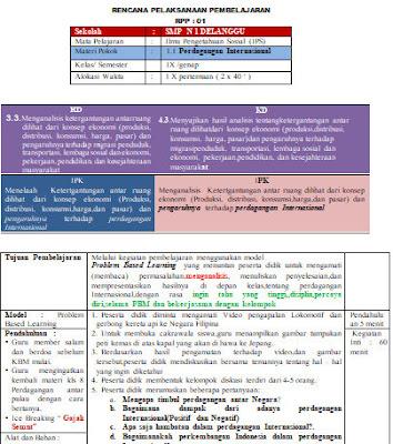 Contoh RPP IPS Kelas 9 Semester Genap 1 Lembar Terbaru 2020