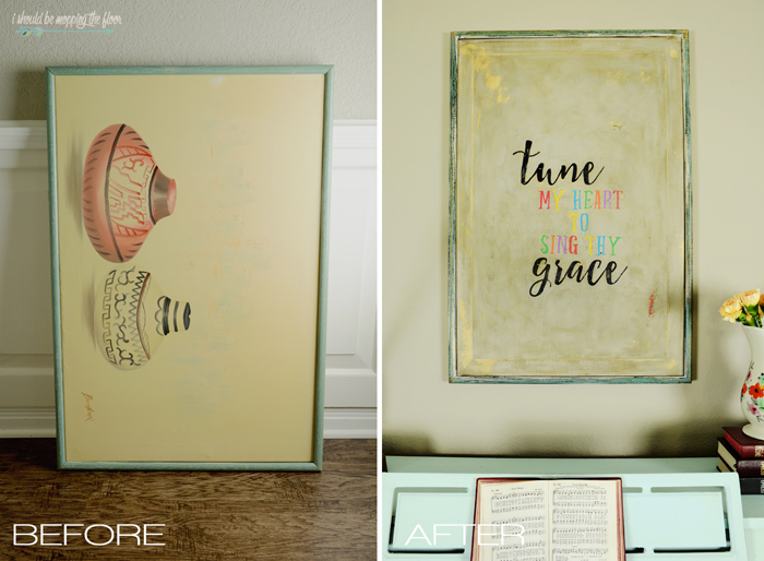 DIY Vintage Canvas Tutorial | Use a thrift store canvas and Sharpie markers to create a vintage art piece.
