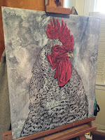 Fire Rooster work in progress by Boulder artist Tom Roderick