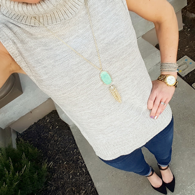 Banana Republic Sweater (similar) // Joes' Jeans - 33% off! // Signature by Report Heels (only $27, regular $90!) // Kendra Scott Rayne Necklace // Nakamol Wrap Bracelet // Michael Kors Runway Watch (similar under $20)