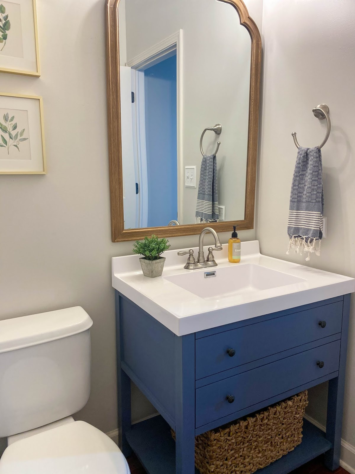 before and after powder room makeover