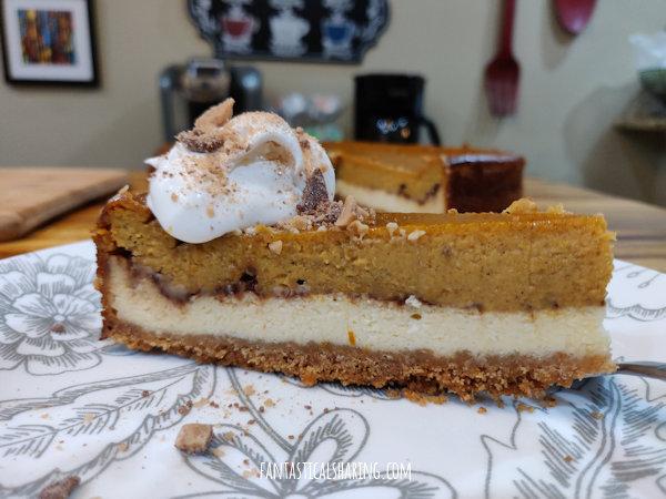 Layered Pumpkin Pie Toffee Cheesecake