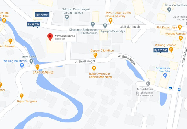 Map Letak Hotel Verona Residence Bandung