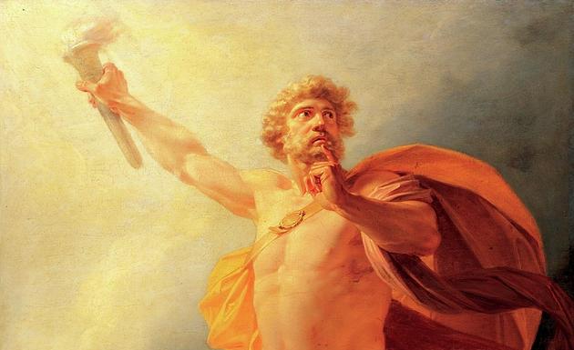 mito de Prometeu roubando o fogo dos deuses