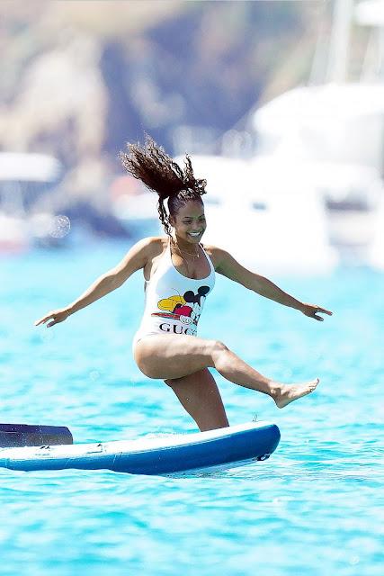 Christina Milian - In a white swimwear on a boat in St