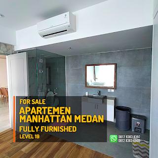 Kamar Mandi Unit Apartemen Murah Fully Furnished - Tinggal Bawa Koper - The Manhattan Condominium dan Apartemen Ring Road Medan