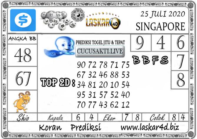 Prediksi Togel SINGAPORE LASKAR4D 25 JULI 2020