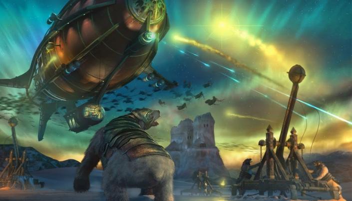 Imagem: ilustração representando um urso polar com uma armadura de bronze num lugar com o céu coberto pela aurora boreal, um zepelim vermelho com detalhes dourados flutuando no céu e mais ao fundo as figuras de várias mulheres em preto voando.