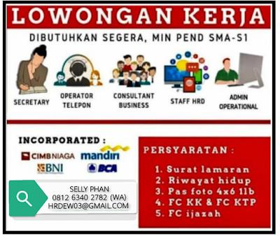 Rekrutmen Kerja S1 dan SMA Medan Oktober 2019